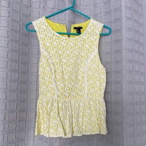 Forever 21 yellow lace peplum